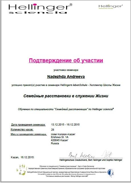 Сертификат Хеллигер 2015